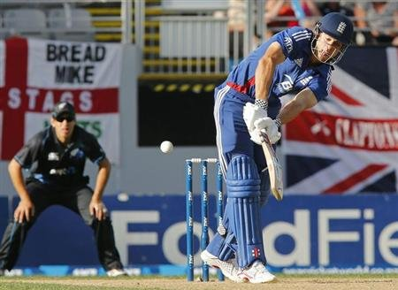 Cook of England plays a shot against New Zealand during the final cricket match of their one day international series at Eden Park, Auckland