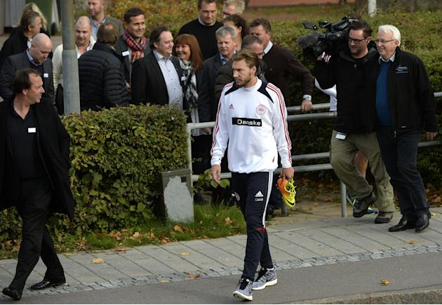 Nicklas Bendtner arrives for a training session with the Danish national soccer team, after a six-month absence following a conviction for drink-driving, at Helsingor Stadium, Denmark, Monday, Oct. 7,