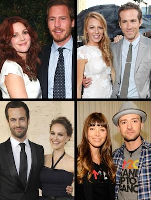 2012 was big for celebrity weddings! Drew & Will, Blake & Ryan, Benjamin & Natalie and Jessica and Justin -- Getty Images