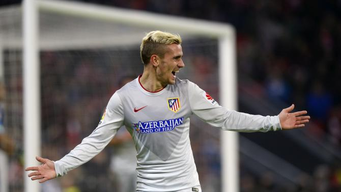 Atletico Madrid's Greizmann celebrates a goal against Athletic Bilbao during their Spanish first division match in Bilbao