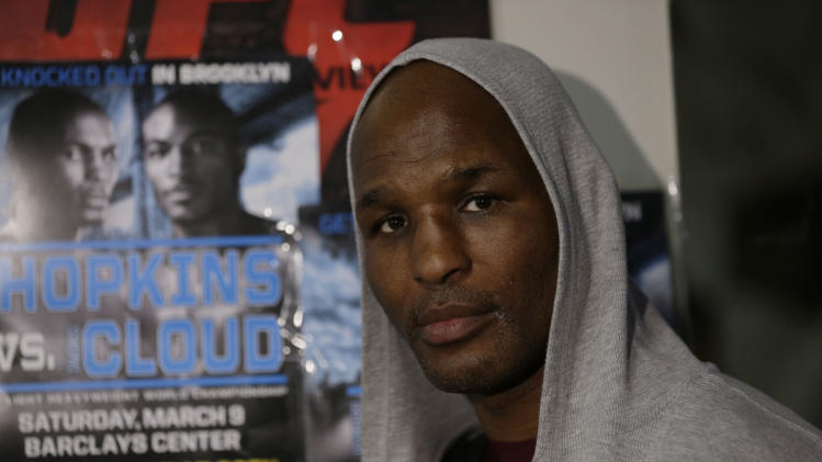 FILE - In this Feb. 19, 2013 file photo, boxer Bernard Hopkins poses during a media workout session in Philadelphia. At 48, Hopkins is not only still fighting, he's trying to break his own record as the older boxer to win a major championship.  (AP Photo/Matt Rourke, File)
