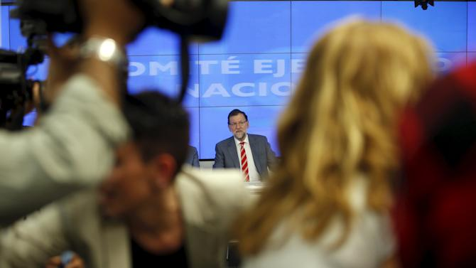 Spain's Prime Minister Mariano Rajoy is pictured at the beginning of a People's Party (PP) executive committee meeting at the party's headquarters in Madrid