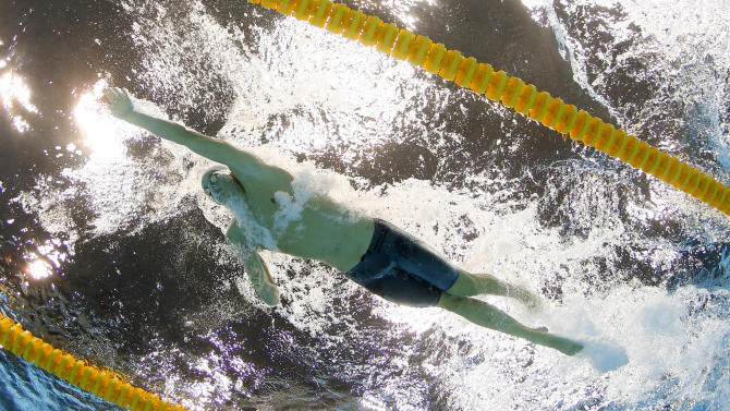 France's Yannick Agnel competes in a men's 200-meter freestyle swimming semifinal at the Aquatics Centre in the Olympic Park during the 2012 Summer Olympics in London, Sunday, July 29, 2012. (AP Photo/David J. Phillip)