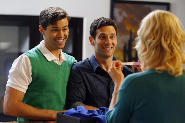 "This image released by NBC shows Andrew Rannells as Bryan, left, and Justin Bartha as David in a scene from ""The New Normal,"" premiering Sept. 11, 2012 at 9:30p.m. EST on NBC. (AP Photo/NBC, Trae Patt"