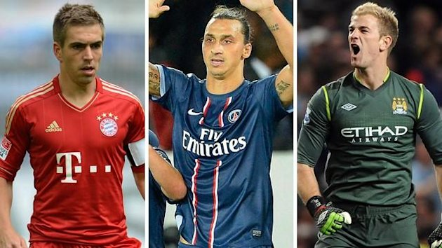 Philipp Lahm, Zlatan Ibrahimovic und Joe Hart