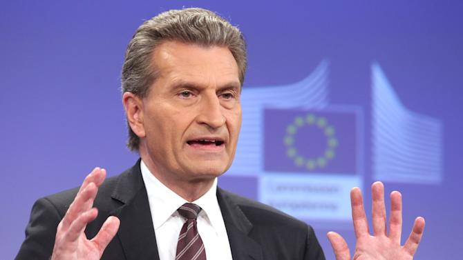 European Commissioner for Energy Guenther Oettinger addresses the media at the European Commission headquarters in Brussels, Thursday, June 13, 2013. The European Commission is proposing tougher nuclear safety rules, amid international debate about the future of nuclear energy and how to secure aging plants. (AP Photo/Yves Logghe)
