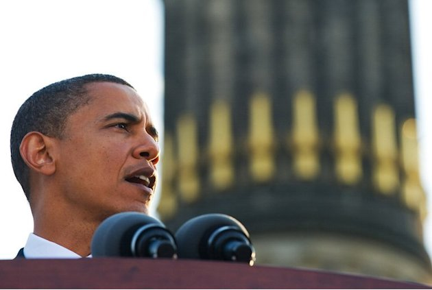 Then US Democratic presidential hopeful, Barack Obama, makes a speech in Berlin on July 24, 2008