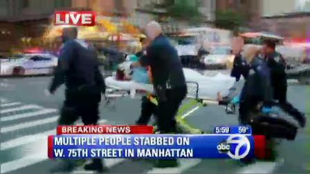 In this video image taken from Eyewitness News 7online.com, an adult victim is removed from a residence in New York City's Upper West Side, Thursday, Oct. 25, 2012. A mother returned home to her luxury apartment building near Central Park to find two of her small children stabbed to death in a bathtub and their nanny, with self-inflicted stab wounds, lying near them, police said. The nanny was hospitalized in critical condition and was in police custody, and authorities said she is suspected of killing the children, who were pronounced dead at a hospital. (AP Photo/WABC-TV, Eyewitness News, 7online.com) MANDATORY CREDIT; NO SALES