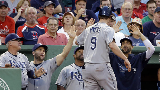 Tampa Bay Rays' Wil Myers (9) is congratulated at the dugout after his solo home run in the second inning of a baseball game against the Boston Red Sox at Fenway Park in Boston Tuesday, July 23, 2013. (AP Photo/Elise Amendola)