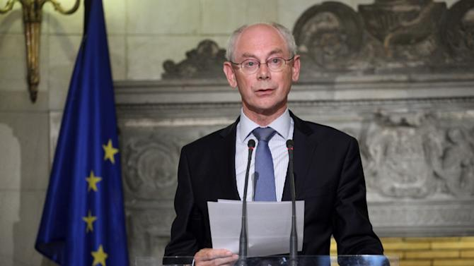 European Council president Herman Van Rompuy speaks during a joint news conference with Greek Premier Antonis Samaras after their meeting in Athens, Friday, Sept. 7, 2012. Greece is struggling to meet budget commitments needed for continued emergency financing from eurozone countries and the International Monetary Fund.(AP Photo/Petros Giannakouris)