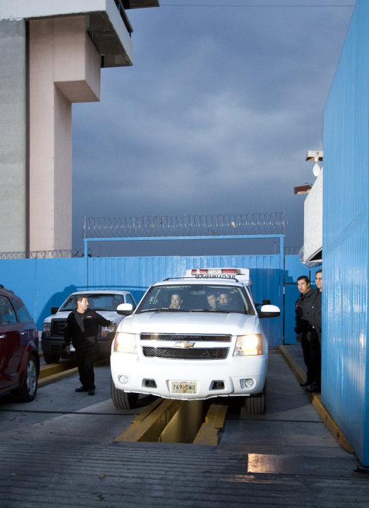 Allegedly aboard the white sports utility vehicle at right, French citizen Florance Cassez leaves a prison in Mexico City, Wednesday, Jan. 23, 2013. A Mexican Supreme Court panel voted Wednesday to re