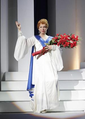"This undated image released by The Publicity Office shows actress Carolee Carmello in a scene from ""Scandalous: The Life and Trials of Aimee Semple McPherson."" Producers announced that a musical about the American evangelical leader Aimee Semple McPherson will find a pulpit at the Neil Simon Theatre this fall. (AP Photo/The Publicity Office, Chris Bennion)"