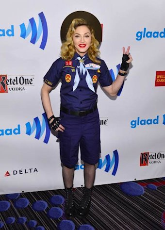 Dressed as a Cub Scout, Madonna poses backstage at the 24th Annual GLAAD Media Awards in New York City on March 16, 2013  -- Getty Images