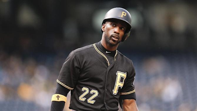Pittsburgh Pirates' Andrew McCutchen (22) plays in the baseball game between the Pittsburgh Pirates and the San Diego Padres, Monday, July 6, 2015, in Pittsburgh. (AP Photo/Keith Srakocic)