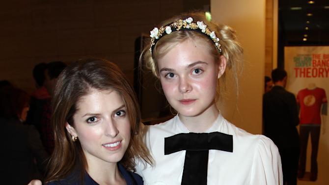 "IMAGE DISTRIBUTED FOR FIJI WATER - Actress Anna Kendrick, left, and actress Elle Fanning attend the after party for a screening of ""Ginger and Rosa"" hosted by FIJI Water on Thursday, Nov. 8, 2012 in Beverly Hills, Calif.  (Photo by Matt Sayles/Invision for Fiji Water/AP Images)"