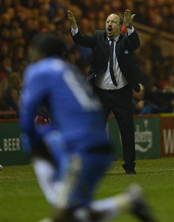 Chelsea's coach Benitez reacts during their English FA Cup soccer match against Middlesbrough in Middlesbrough