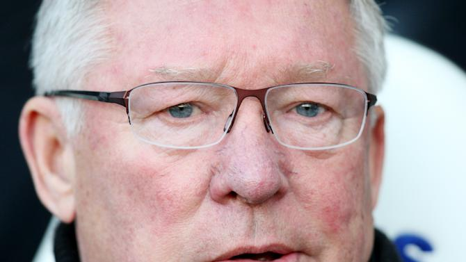 Manchester United's manager Alex Ferguson, looks on ahead of their English Premier League soccer match against Newcastle United at the Sports Direct Arena, Newcastle, England, Sunday, Oct. 7, 2012. (AP Photo/Scott Heppell)