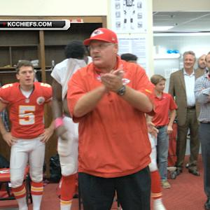 Kansas City Chiefs celebrate victory over the St. Louis Rams