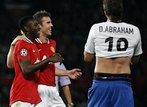 Manchester United's Welbeck celebrates scoring a goal with Carrick against FC Basel during their Champions League soccer match in Manchester