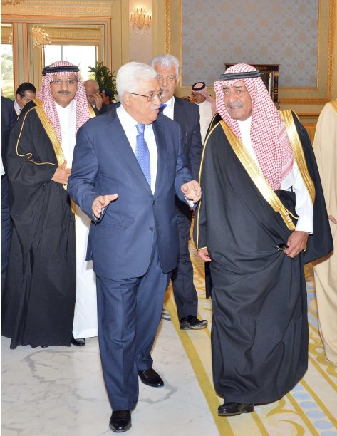 Palestinian President Mahmoud Abbas is seen off by Saudi officials at Riyadh airport