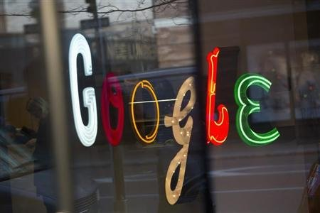 The Google signage is seen at the company&#39;s headquarters in New York January 8, 2013. REUTERS/Andrew Kelly (