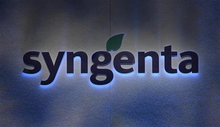 Agrochemicals maker Syngenta's logo is pictured during the annual news conference in Zurich