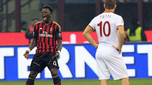 AC Milan's Sulley Muntari (L) celebrates after scoring their second goal against AS Roma (Reuters)