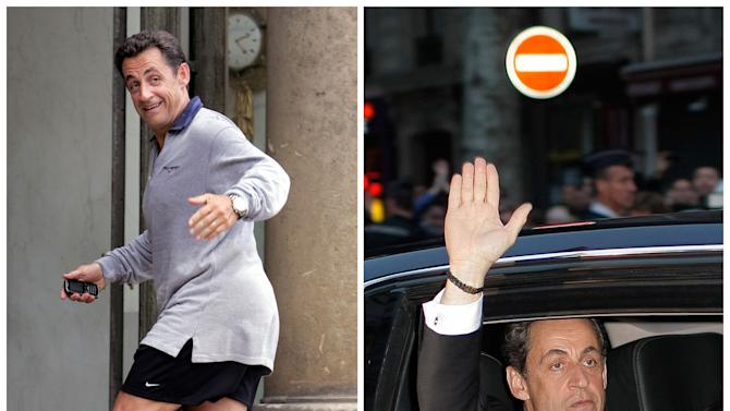 This combination of two photos shows on the left, in a  May 17, 2007 file photo, French President Nicolas Sarkozy running up the steps of the Elysee Palace, coming back from jogging in Paris; and on the right, Sarkozy in a Sunday May 6, 2012 photo waving from his car as he leaves after addressing supporters at his Union for a Popular Movement (UMP) party headquarters following the announcement of the preliminary results of the second round of the presidential elections in Paris. (AP Photo/Remy de la Mauviniere, Thibault Camus)