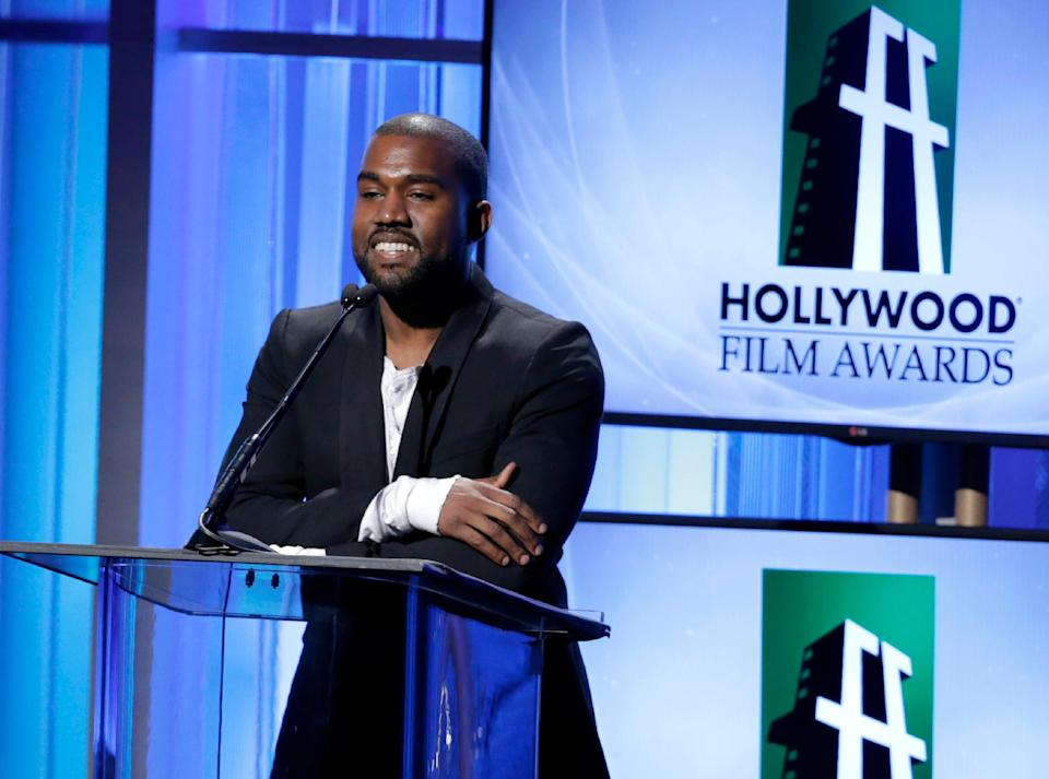 Kanye West speaks on stage at the 17th Annual Hollywood Film Awards Gala at the Beverly Hilton Hotel on Monday, Oct. 21, 2013, in Beverly Hills, Calif. (Photo by Todd Williamson/Invision/AP)