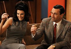 Jessica Paré and Jon Hamm, Mad Men | Photo Credits: Michael Yarish/AMC