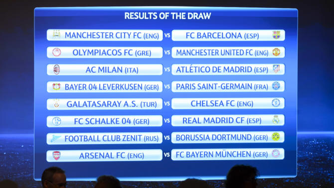 The match fixtures are shown on an electronic panel following the draw of the round of 16 games of UEFA Champions League 2013/14 at the UEFA Headquarters in Nyon, Switzerland, Monday, Dec. 16, 2013. (AP Photo/Keystone,Laurent Gillieron)