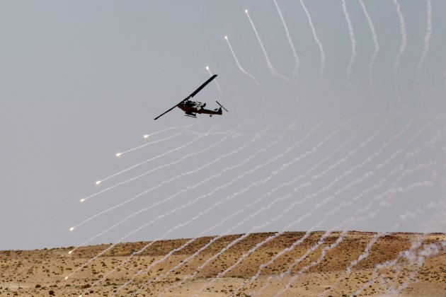 "A helicopter participates in the ""Eager Lion"" military exercises at Al Quwierah near Aqaba"