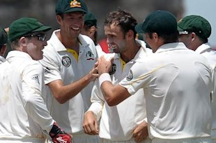 Nathan Lyon took a wicket first ball in Test cricket.