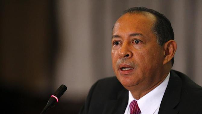 Venezuela's Central Bank President Eudomar Tovar talks to the media during a news conference in Caracas
