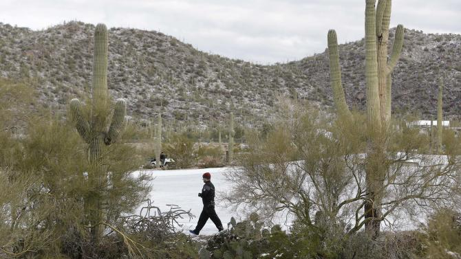 A grounds keeper walks along a snow-covered fairway before the start of the first round of the Match Play Championship golf tournament, Thursday, Feb. 21, 2013, in Marana, Ariz.  A snow storm blanketed the course on Tuesday suspending the first round of play and postponing it until late Thursday morning. (AP Photo/Ted S. Warren)