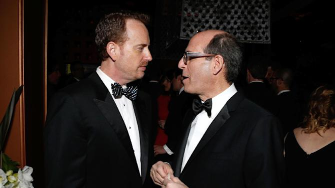 IMAGE DISTRIBUTED FOR FOX SEARCHLIGHT - Chairman of NBC Entertainment  Robert Greenblatt, left, and CEO Showtime Networks Matt Blank attend the Fox Golden Globes Party on Sunday, January 13, 2013, in Beverly Hills, Calif. (Photo by Todd Williamson/Invision for Fox Searchlight/AP Images)