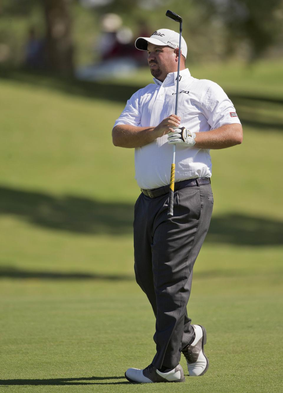 Brendon De Jonge watches his shot on the ninth fairway during the third round of the Justin Timberlake Shriners Hospitals for Children Open golf tournament, Saturday, Oct. 6, 2012, in Las Vegas. (AP Photo/Julie Jacobson)