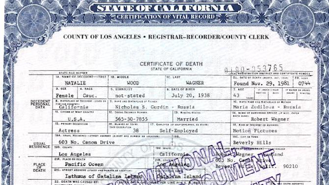 "This photo released by the Los Angeles County Registrar/County Clerk shows actress Natalie Wood's death certificate. Authorities amended Wood's death certificate on Aug. 1, 2012 to reflect some of the lingering questions about how the actress died in the waters off Catalina Island in November 1981. The changes include altering her cause of death to ""Drowning and other undetermined factors"" and adding the statement ""Circumstances not clearly established"" to how Wood ended up in the water while on a yacht with husband Robert Wagner and actor and co-star Christopher Walken. (AP Photo/ Los Angeles County Registrar/County Clerk)"