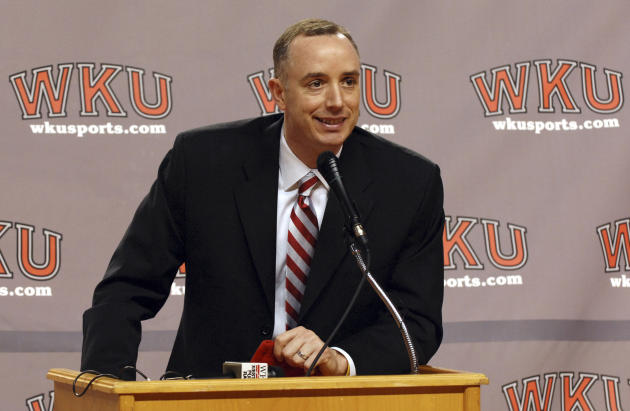 FILE - In this April 6, 2008 file photo, Ken McDonald speaks during a news conference after being named men's basketball coach at Western Kentucky, in Bowling Green, Ky. Western Kentucky University At