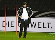 Germany's coach Joachim Loew oversees a training session in Berlin, on the eve of the Germany vs Sweden FIFA World Cup 2014 qualifier at Berlin's Olympic Stadium