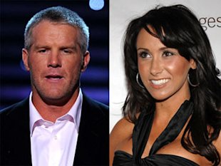 Brett Favre and alleged penis photo recipient Jen Sterger. (via CBSNews.com)