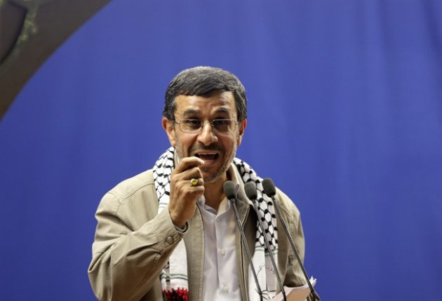 """Iranian President Mahmoud Ahmadinejad speaks at the conclusion of an annual pro-Palestinian rally, marking Quds (Jerusalem) Day, on the last Friday of the holy month of Ramadan, at the Tehran University campus, in Tehran, Iran, Friday, Aug. 17, 2012. Iran's president says Israel's existence is an """"insult to all humanity."""" It's one of his sharpest attacks yet against the Jewish state. It comes as Israel openly debates whether to attack Iran over its nuclear program. Iran and Israel have been bitter enemies for decades. Israel considers Iran an existential threat because of its nuclear and missile programs and repeated references by Iranian leaders to Israel's destruction. (AP Photo/Vahid Salemi)"""