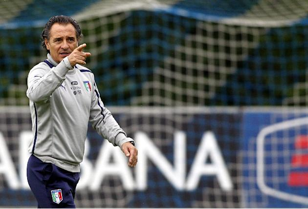 Italy coach Cesare Prandelli gestures during a training session at the Coverciano training grounds, near Florence, Italy, Monday, Oct. 7, 2013. Italy is scheduled to play a World Cup qualifier soccer