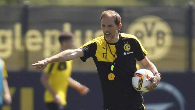 Borussia Dortmund's new coach Tuchel gestures during the first training session for the new soccer season in Dortmund