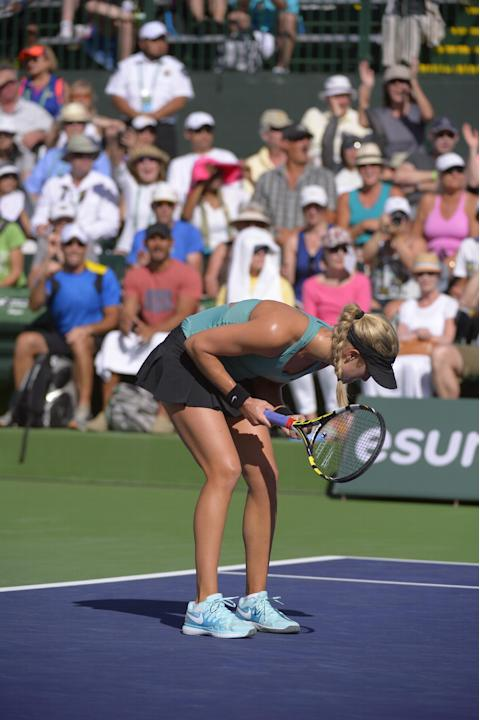 Eugenie Bouchard, of Canada, reacts after defeating Sara Errani, of Italy, 6-3, 6-3 in their match at the BNP Paribas Open tennis tournament, Sunday, March 9, 2014, in Indian Wells, Calif. (AP Photo/M