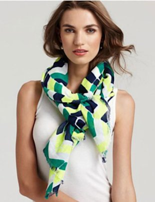 JUICY COUTURE CHEVRON STRIPE LINEN SCARF, $68, BLOOMINGDALES.COM