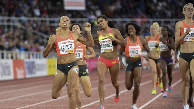 Lamote of France crosses the finish line to win the women's 800m event at the IAAF Athletics Diamond League meeting at Stockholm Olympic Stadium