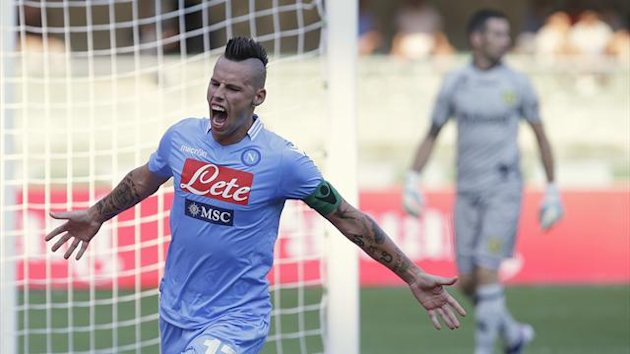 Napoli's Marek Hamsik celebrates after scoring against Chievo Verona during their Italian Serie A soccer match at the Bentegodi stadium in Verona August 31, 2013 (Reuters)