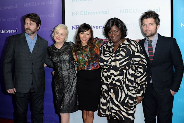 "Nick Offerman, Amy Poehler, Rashida Jones, Retta, and Adam Scott (""Parks and Recreation"") attend the 2012 NBC Universal Winter TCA  All-Star Party at The Athenaeum on January 6, 2012 in Pasadena, Cali"