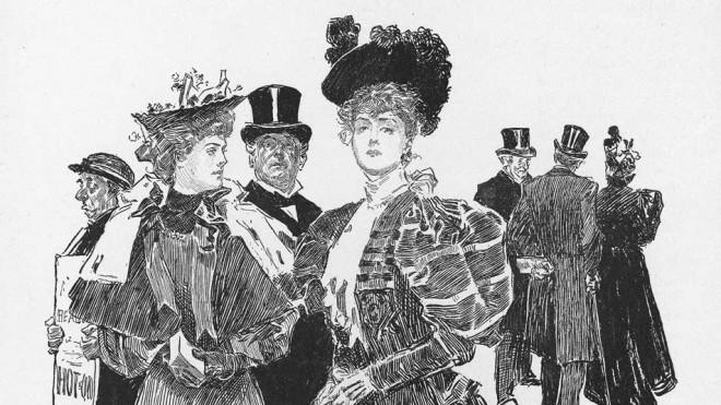 An untitled illustration by Charles Dana Gibson depicts a pair of fashionable young women in London, c. 1896-1898.